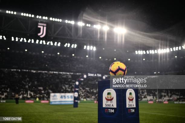 The Italian Serie A official soccer ball is pictured prior to the Italian Serie A football match Juventus vs Parma on February 2 2019 at the Juventus...