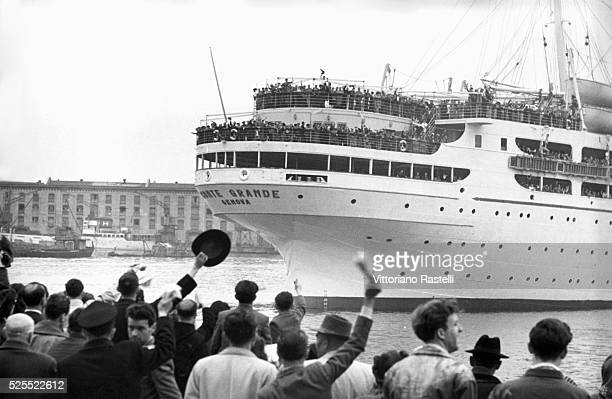 The Italian ship Conte Grande crowded with Italian emigrants leaving Genoa for Argentina