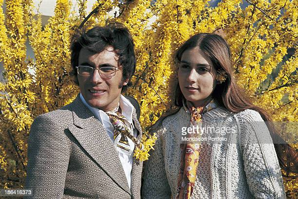 The italian singer Al Bano born Albano Carrisi and his girlfriend the american singer Romina Power 1969
