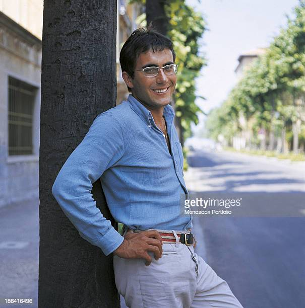 The italian singer Albano Carrisi in art Al Bano poses smiling in a street of Cellino San Marco Cellino San Marco Italy 1967