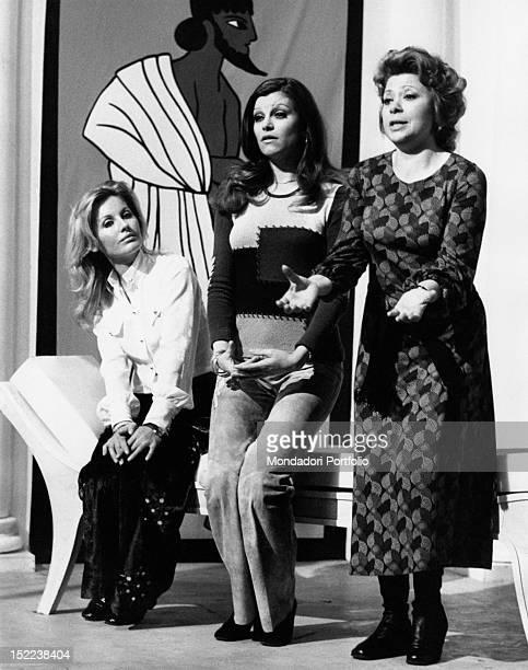 The Italian singer and actress Milva and the Italian actresses Gabriella Farinon and Bice Valori acting in the TV serial 'Mai di sabato Signora...
