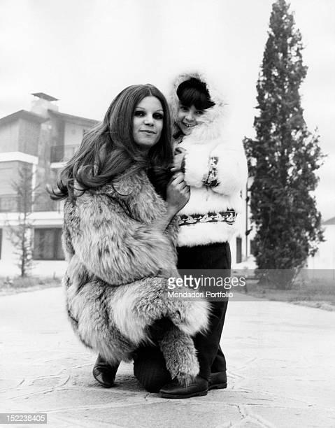 The Italian singer and actress Milva hugging her daughter Martina Corgnati Leini January 1968