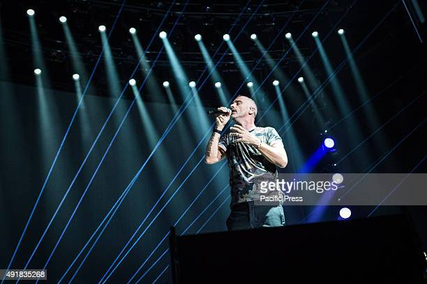 The Italian singer and song-writer Eros Ramazzotti sings during his live concert at Mediolanum Forum Assago in Milan.