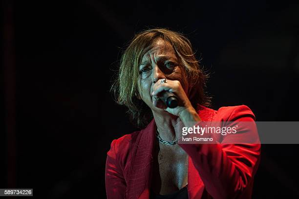The Italian singer and songwriter Gianna Nannini performs during a live concert of her 'Hitstory Tour 2016' in the theatre of the Temples of Paestum...