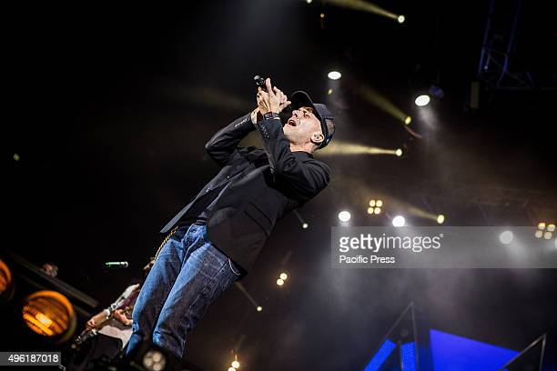 The italian singer and songwriter Max Pezzali sings during his live concert at Mediolanum Forum in Assago Milan