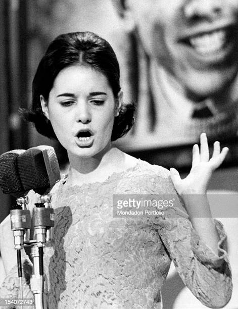 The Italian singer Anna Identici singing during the Castrocaro Music Festival Castrocaro 1964