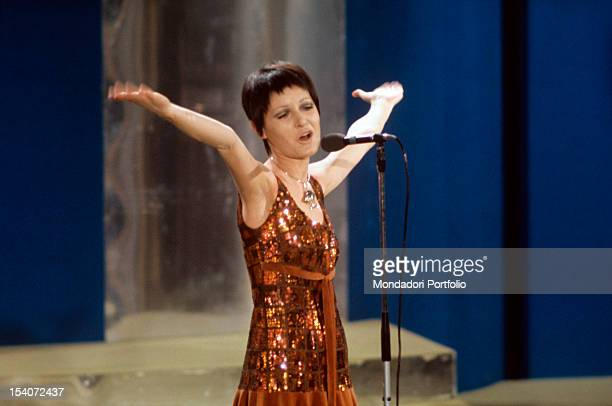 The Italian singer Anna Identici singing on the stage of Teatro Ariston during the Sanremo Music Festival Sanremo 1971