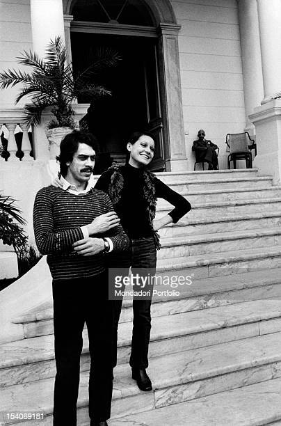 The Italian singer Anna Identici standing with her husband Maurilio Sioli during the Sanremo Music Festival Sanremo 1974