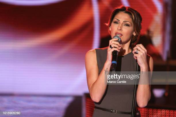The italian singer Anna Tatangelo performs live during a TV show