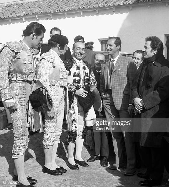 The Italian singer Domenico Modugno with Spanish bullfighter Luis Miguel Dominguín spectators of a bullfight Madrid Spain