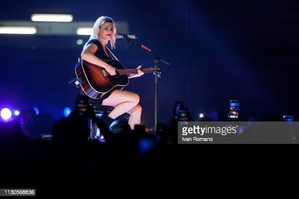 The italian singer Emma Marrone performs for her 'Essere qui tour' at at PalaSele Eboli on February 18 2019 in Eboli Italy