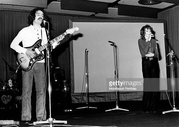 The Italian singer Fiorella Mannoia and the Italian singersongwriter and record producer Memmo Foresi performing on stage November 1972