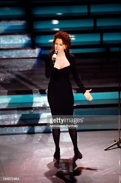 The Italian singer Fiorella Mannoia taking part in Sanremo Music Festival Sanremo 1988