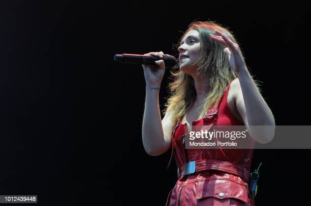 The Italian singer Francesca Michielin opens the concert of Alanis Morissette during the Rome Summer Fest at the auditorium of the Auditorium Parco...