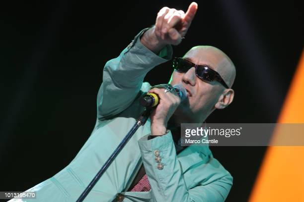 The italian singer Giuliano Palma during a concert in Naples