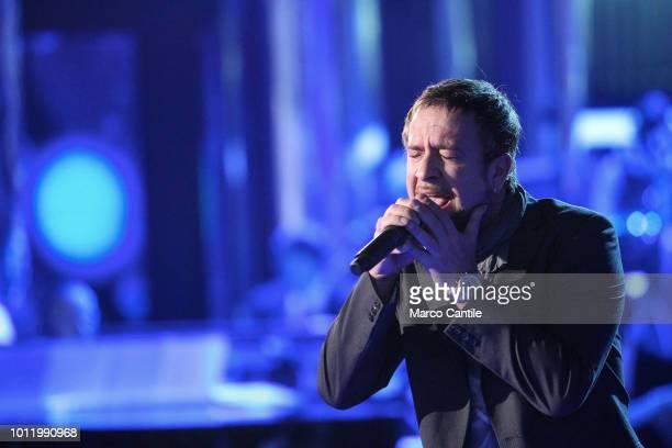 The italian singer Marco Masini during the italian RAI TV show Per Sempre Mia
