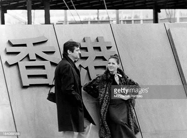 The Italian singer Sergio Endrigo and the Italian singer Anna Identici being on tour in Osaka Osaka April 1970