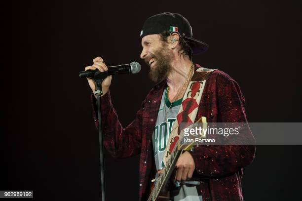 The italian singersongwriter Lorenzo Cherubini performs on stage of Palasele for Lorenzo Live 2018 Tour on May 25 2018 in Eboli Italy