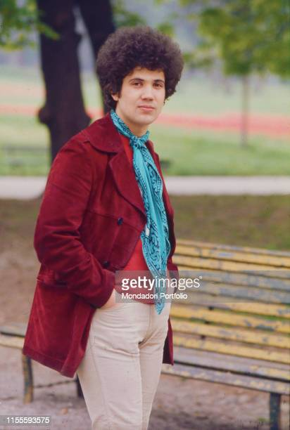 The Italian singersongwriter Lucio Battisti photographed in a park Italy 1969