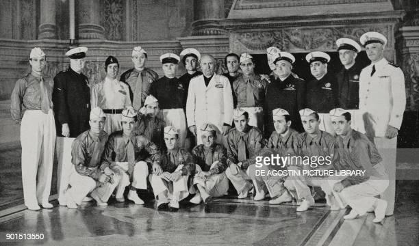 The Italian soccer team being received by Benito Mussolini Palazzo Venezia Rome Italy from L'Illustrazione Italiana Year LXV No 27 July 3 1938