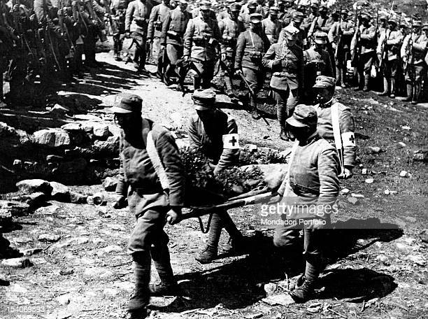 The Italian soldiers of the First Battalion of the 215th Infantry Regiment celebrating the funeral of a comrade the Italian Lieutenant Suriano Italy...