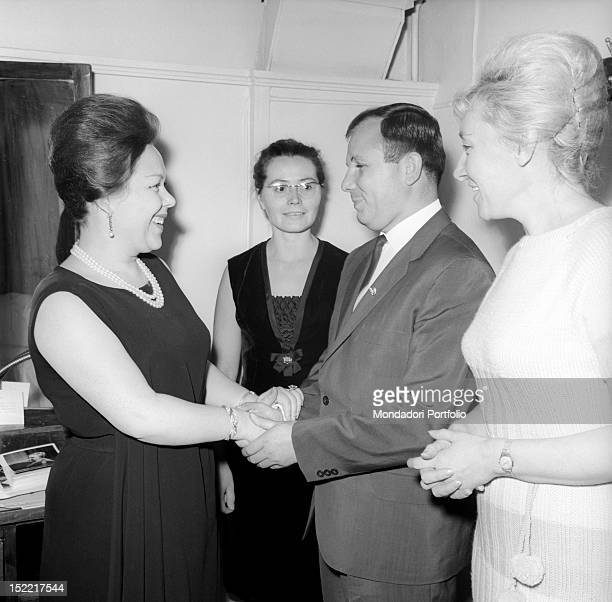 The Italian soprano Renata Scotto is smiling She is welcoming Yuri Gagarin and his wife Valentina Goryacheva in her dressing room Bolshoi Theatre...