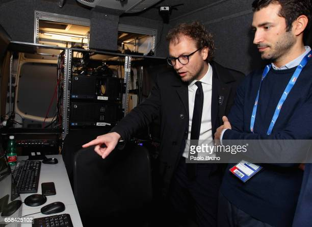 The Italian Sport Minister Luca Lotti gestures in the VAR monitor studio before the international friendly match between Italy U21 and Spain U21 at...