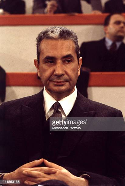 The Italian statesman Aldo Moro participating in a congress of the Christian Democratic Party Italy 1976
