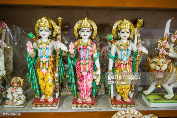 The Italian stone carved statues of Lord Rama Lakshman and Sita are seen at the workshop Lord Rama is one of the most adored god and hero of the epic...