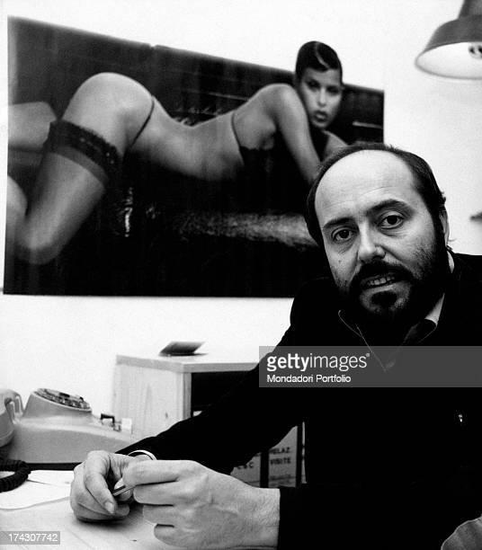 The Italian stylist Elio Fiorucci poses in his study Italy 1974
