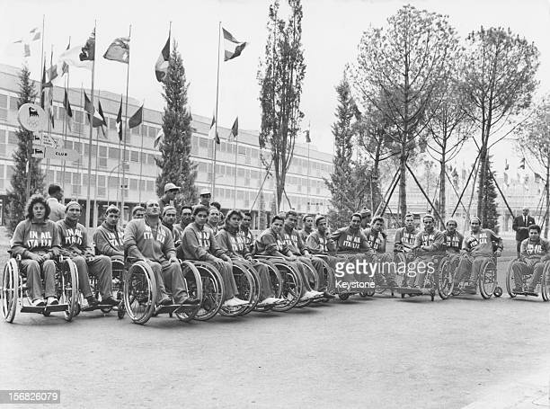 The Italian team at the Olympic village before the start of the first international Paralympic Games Rome 16th September 1960 The games were known at...