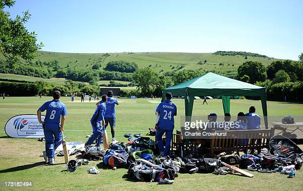 The Italian team enjoy the game during the European Division 1 Championship - Group A match between Italy and Norway at Preston Nomads Cricket Club...
