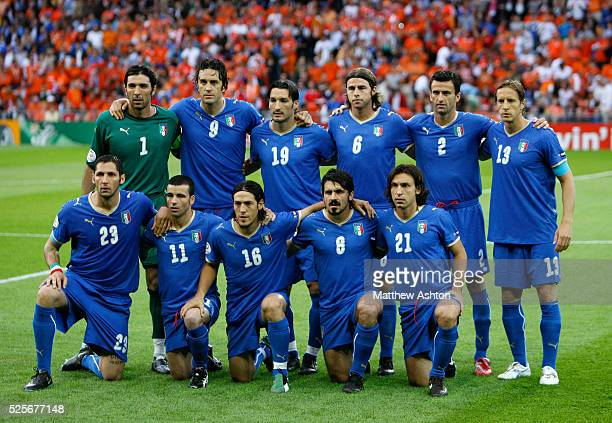 The Italian team of goalkeeper Gianluigi Buffon Luca Toni Gianluca Zambrotta Andrea Barzagli Christian Panucci Massimo AmbrosiniMarco Materazzi...