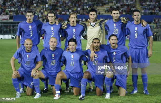 The Italian team pose for a group photograph prior to the International Friendly between Italy and Croatia at the Armando Picchi Stadium stadium on...