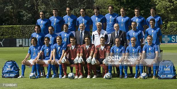 The Italian team pose for an official team group picture on May 25 2006 in Coverciano Italy Front row Simone Barone Andrea Barzagli Marco Materazzi...