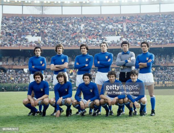 The Italian team pose for photographers prior to the 3rd 4th place playoff between Italy and Brazil at the Estadio Monumental in Buenos Aires 24th...