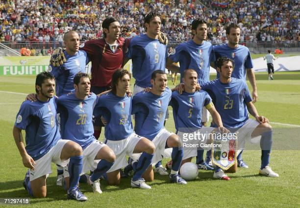 The Italian team pose for the cameras prior to kickoff during the FIFA World Cup Germany 2006 Round of 16 match between Italy and Australia at the...