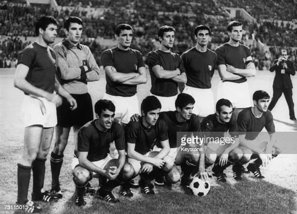 The Italian team poses for pictures after beating Yugoslavia 2-0 in the UEFA European Football Championship Final replay at the Stadio Olimpico in...