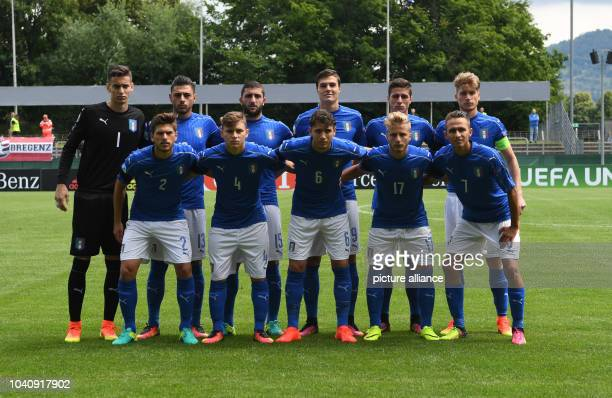 The Italian team with goalkeeper Alex Meret Giuseppe Pezzella Mauro Coppolaro Andrea Favilli Paolo Ghiglione Filippo Romagna Davide Vitturini Nicolo...