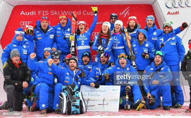 The Italian team with second placed Federica Brignone of Italy winner Sofia Goggia of Italy and third placed Nadia Fanchini of Italy celebrate on the...