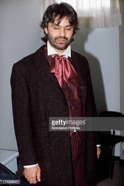 The Italian tenor Andrea Bocelli in the guise of Rodolfo ready for his debut as an opera singer in Puccini's La Boheme at the Teatro Lirico of...