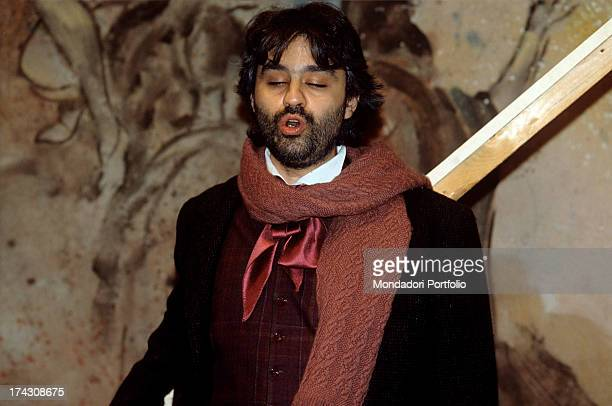 The Italian tenor Andrea Bocelli in the guise of Rodolfo sings an aria from Puccini's La Boheme the piece of his debut as an opera singer in the...