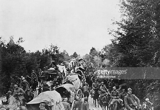The Italian Third Army in retreat from the Isonzo front in north eastern Italy circa 1916