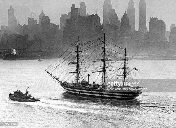 The Italian training ship Amerigo Vespucci sails past New York's skyline The 330foot threemasted ship arrived for a 10day stay before continuing a...