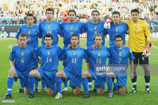 The Italian Under 21 team line up for a team group before the UEFA Under 21's European Championships match between Italy and Portugal at The Ruhr...