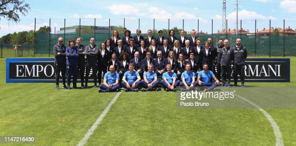 The Italian Women's national football team wearing Armani suits pose for a teamphoto at the Hotel Mancini on June 1 2019 in Rome Italy