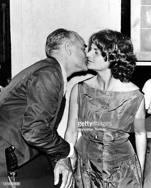 The Italian writer Alberto Moravia kissing his wife Elsa Morante The Italian writer has just won the Strega Prize with her novel 1957