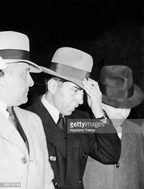The ItalianAmerican Gangster Charles Lucky Luciano Being Led To New York'S Courthouse By Two Detectives To Be Judged On Charges Of Drug Trafficking...