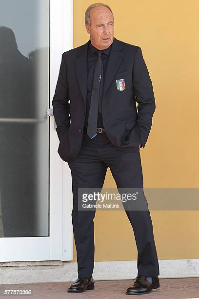 The Italy Football Federation unveils new coach Giampiero Ventura at Coverciano on July 19 2016 in Florence Italy