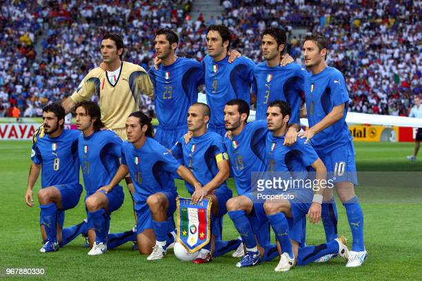 The Italy football team prior to the FIFA World Cup Final between Italy and France at the Olympic Stadium in Berlin on July 9th 2006 Italy won on...